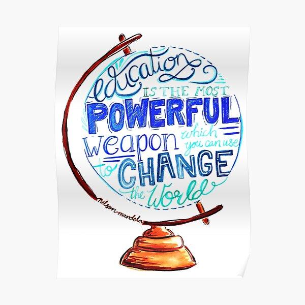 Nelson Mandela - Education Change The World, Typography Vintage Globe Design Poster