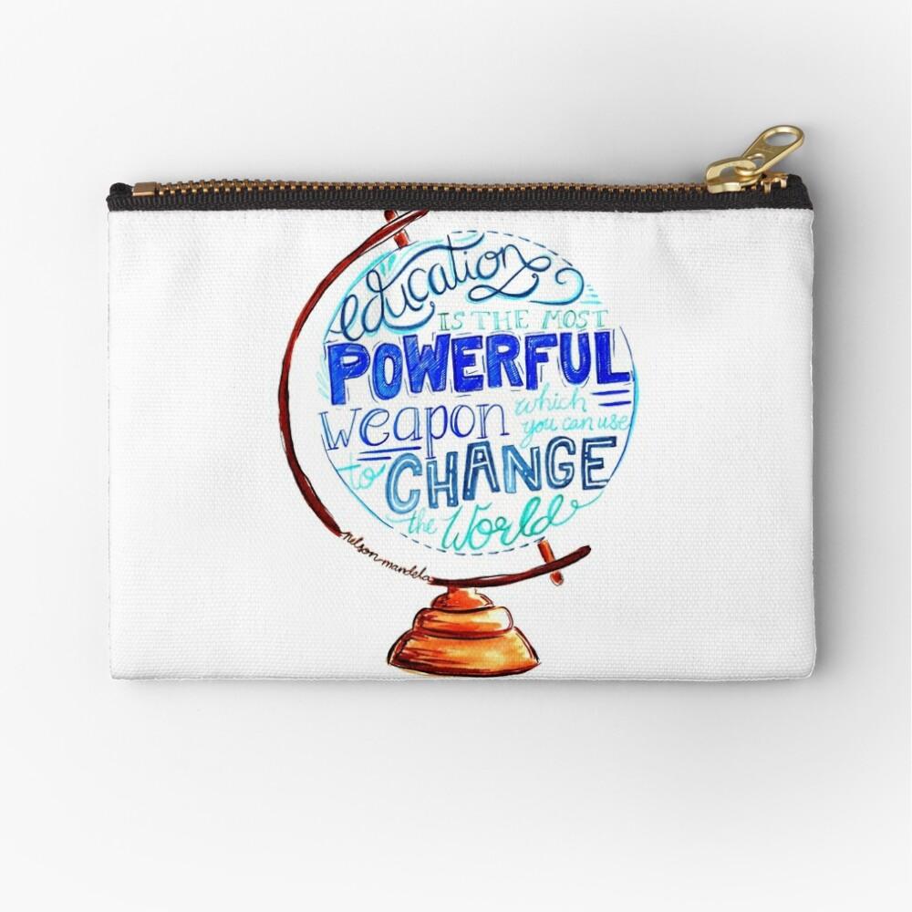 Nelson Mandela - Education Change The World, Typography Vintage Globe Design Zipper Pouch