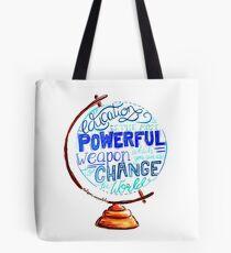 Nelson Mandela - Education Change The World, Typography Vintage Globe Design Tote Bag
