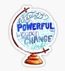 Nelson Mandela - Education Change The World, Typography Vintage Globe Design Sticker