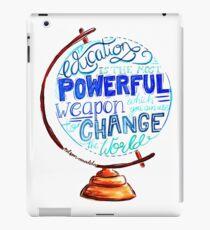 Nelson Mandela - Education Change The World, Typography Vintage Globe Design iPad Case/Skin