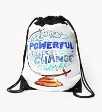 Mochila saco Nelson Mandela - Education Change The World, Tipografía Vintage Globe Design