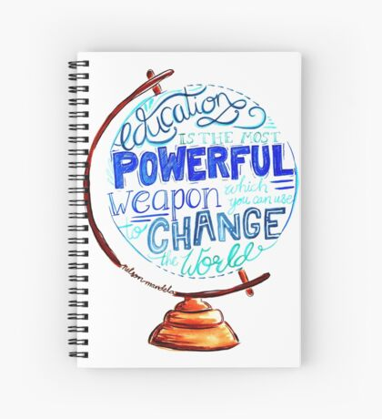 Nelson Mandela - Education Change The World, Typography Vintage Globe Design Spiral Notebook