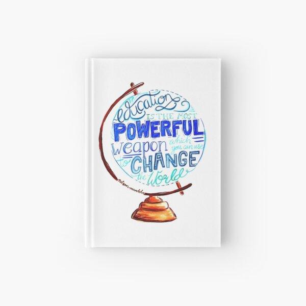 Nelson Mandela - Education Change The World, Typography Vintage Globe Design Hardcover Journal