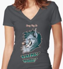 Every Day is Werewolf Wednesday! (color option #2) Women's Fitted V-Neck T-Shirt