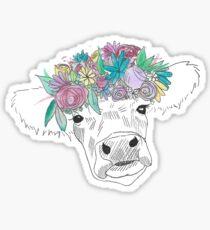 Watercolor Flower Cow Sticker