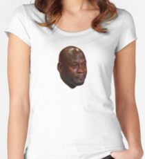 Michael Jordan crying Women's Fitted Scoop T-Shirt