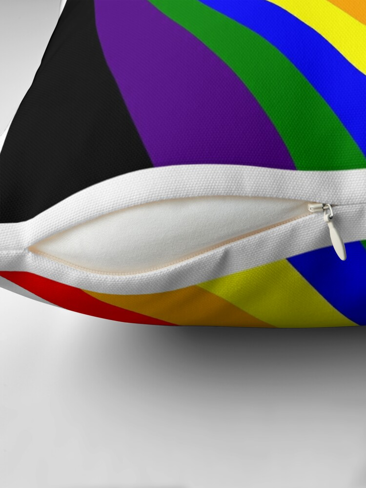 Alternate view of Linear Rainbow Throw Pillow