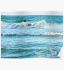 Enjoying the surf in summer Poster