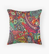 Psychedelic Paisley Pattern Throw Pillow