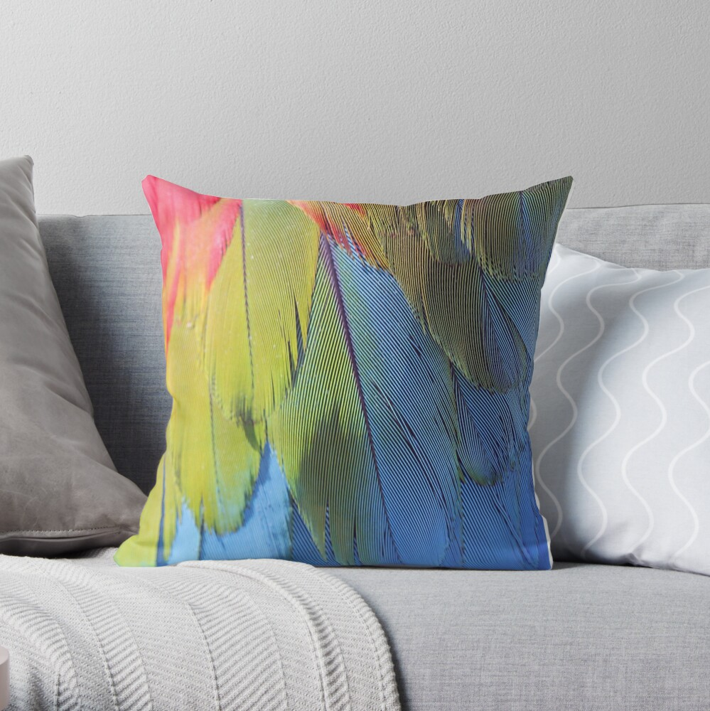 Scarlet Macaw Feathers Throw Pillow