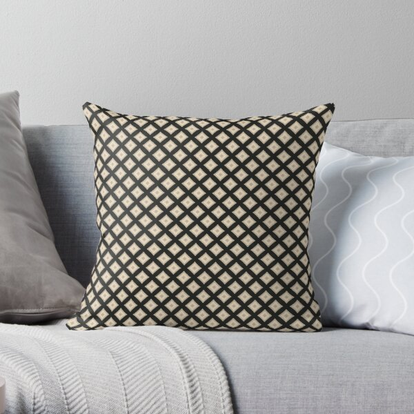 Abstract Art: Artistic Black and Tan Square Pattern Throw Pillow