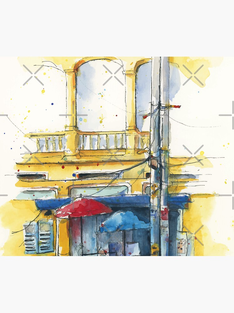 Yellow Building Sketch by acozymess