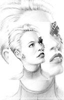 """Jeri Ryan as """"7 of 9"""" miniature portrait by wu-wei"""