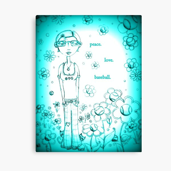 Blue Peace Love and Baseball - Whimsical Folk Art Girl Canvas Print