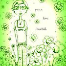 Green Peace Love and Baseball - Whimsical Folk Art Girl by erica lubee  ~ SkyBlueWithDaisies