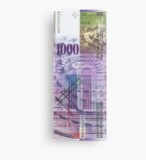 1000 Swiss Franc Bill Canvas Print