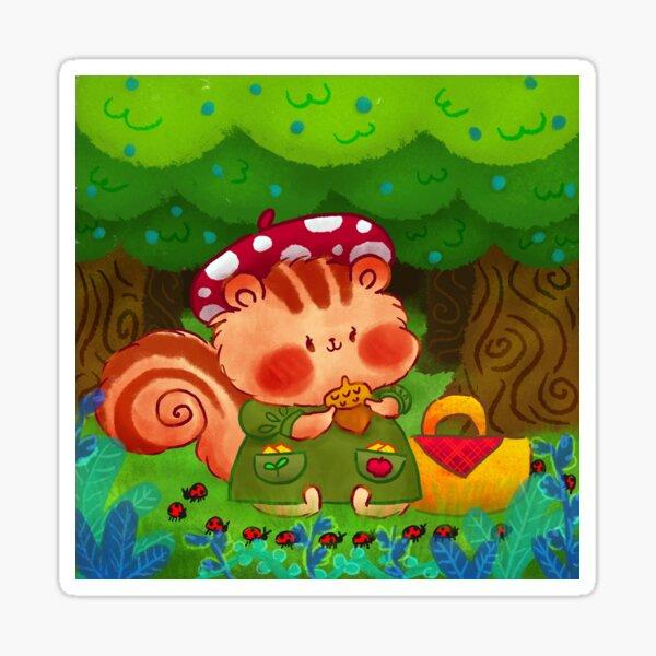 Cute Chipmunk and Ladybugs Sticker