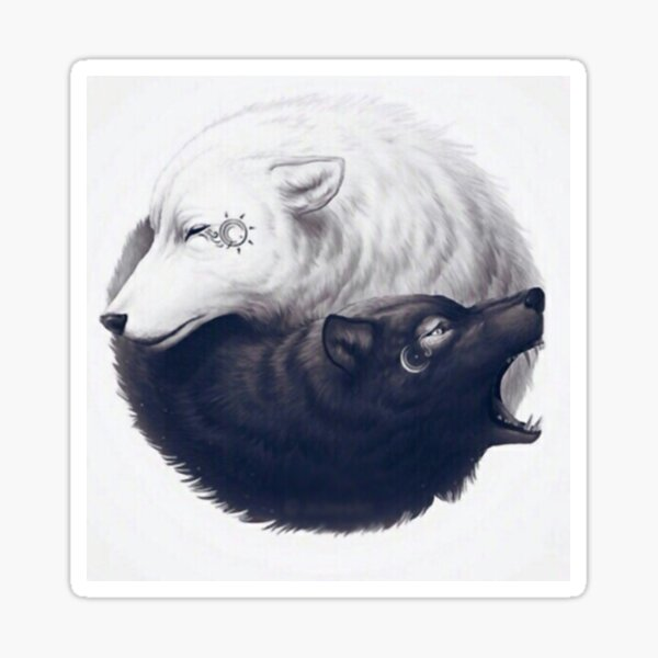 yin yang wolves Sticker