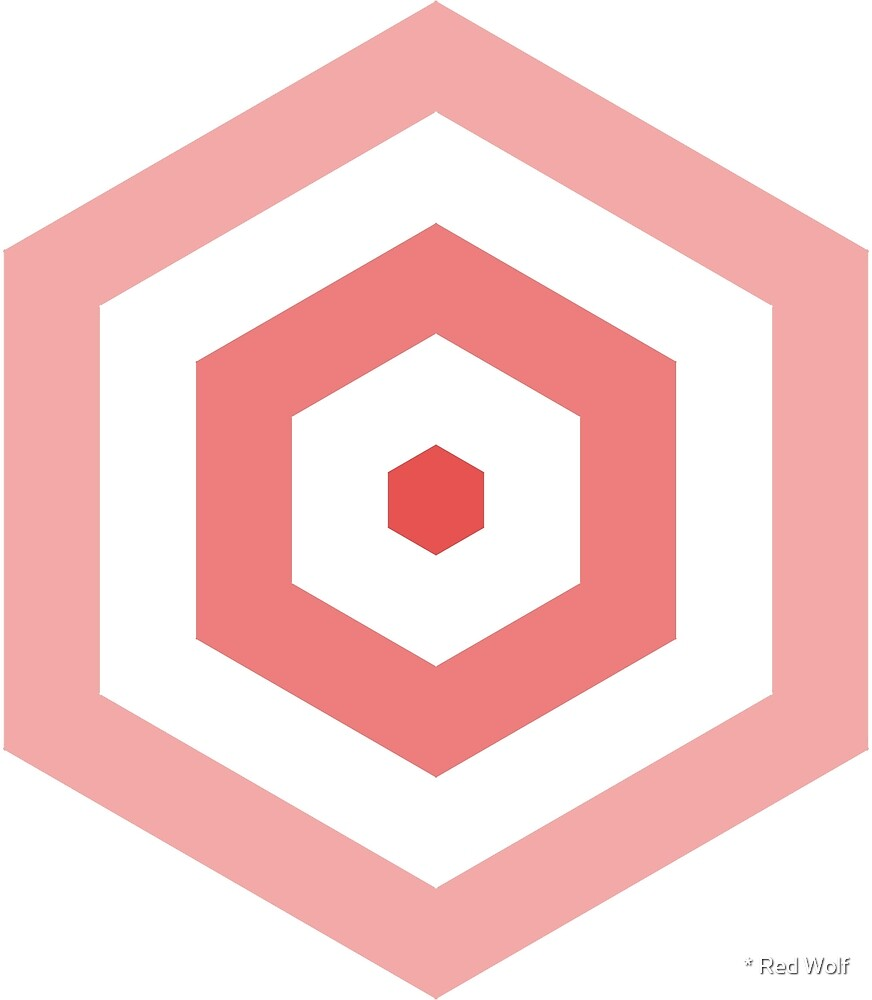 Geometric Pattern: Hexagon Hive: Light Positive: Red by * Red Wolf