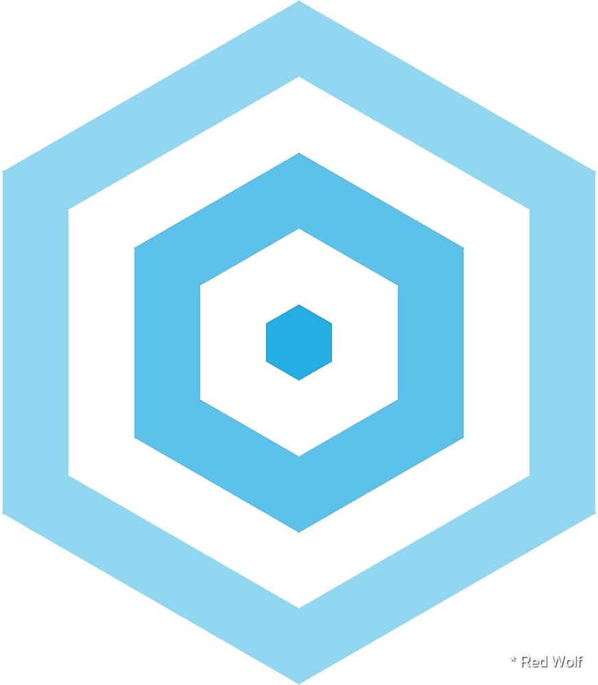 Geometric Pattern: Hexagon Hive: Light Positive: Blue by * Red Wolf