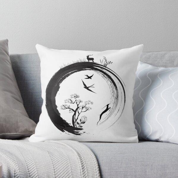 Enso Zen Circle Japanese Symbol Life Nature Tree Wildlife Throw Pillow
