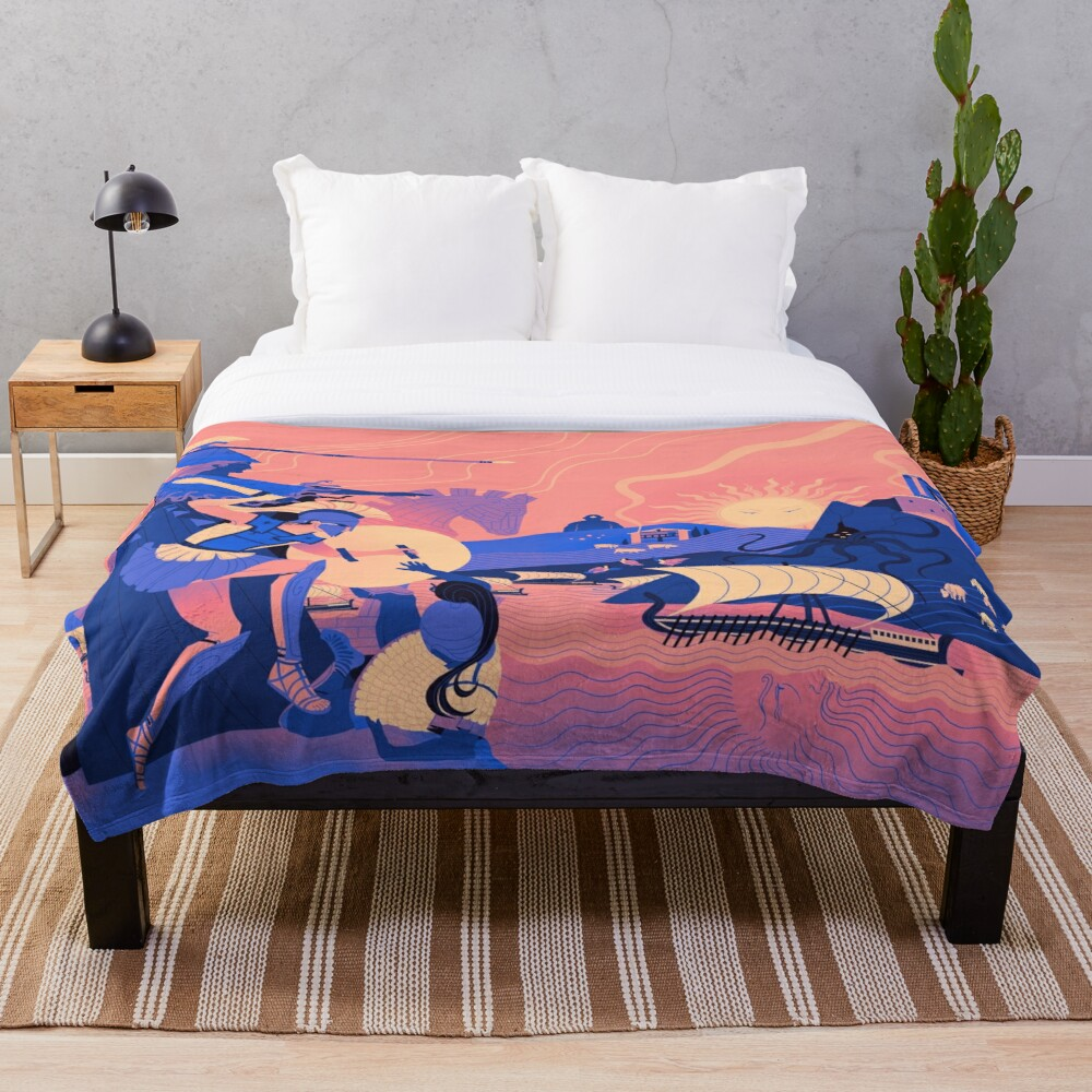 Homeric Landscape - Summer Throw Blanket