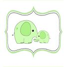 Green Elephant adult and baby by Michelle *