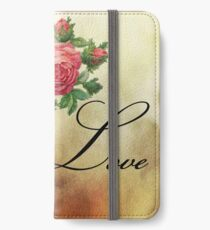 vintage pink roses iPhone Wallet/Case/Skin