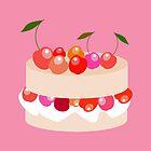 Sweet cake with cherries  by Koaladesign