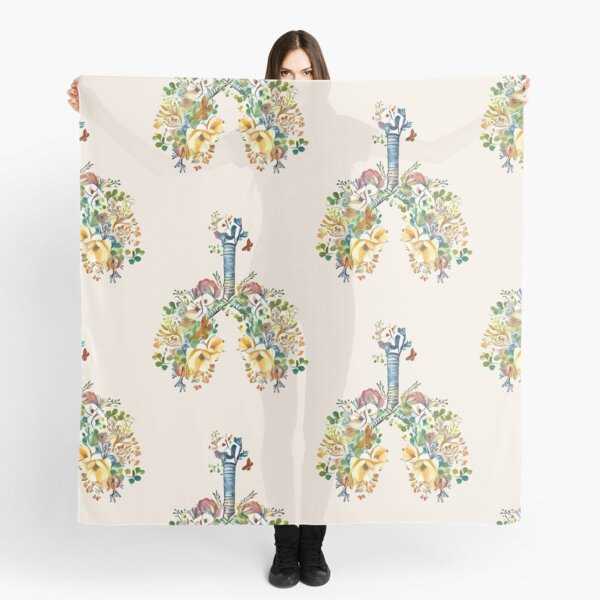 Lungs with wild flowers watercolor shades of jellow, green and sand Scarf