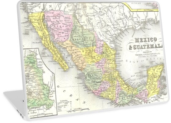 Mexico Map 1850.Vintage Map Of Mexico 1850 Laptop Skins By Bravuramedia Redbubble