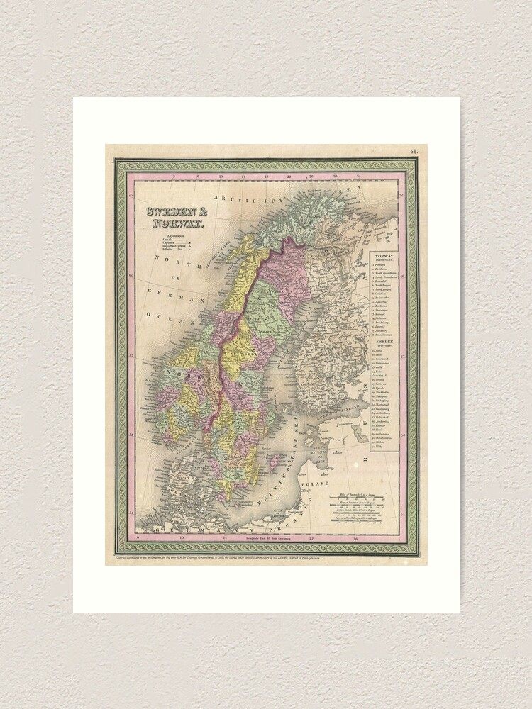 Alternate view of Vintage Map of Scandinavia (1850) Art Print