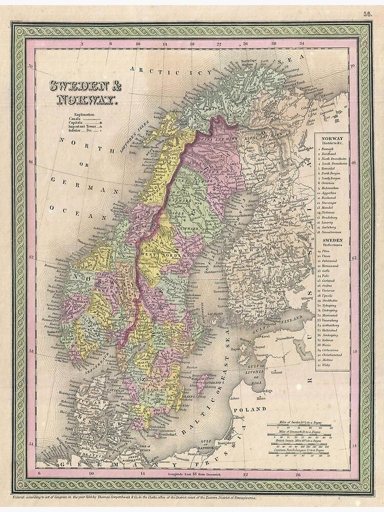 Vintage Map of Scandinavia (1850) by BravuraMedia