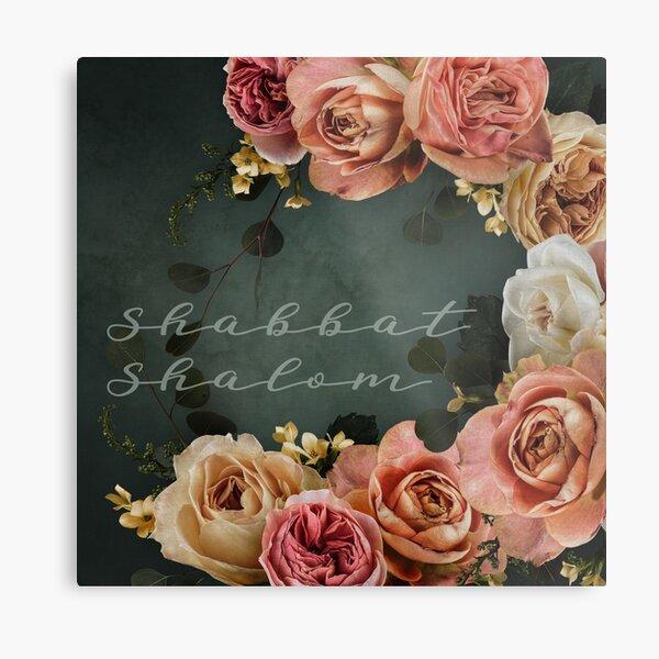 Shabbat Shalom - Vintage Roses Judaica Art Metal Print