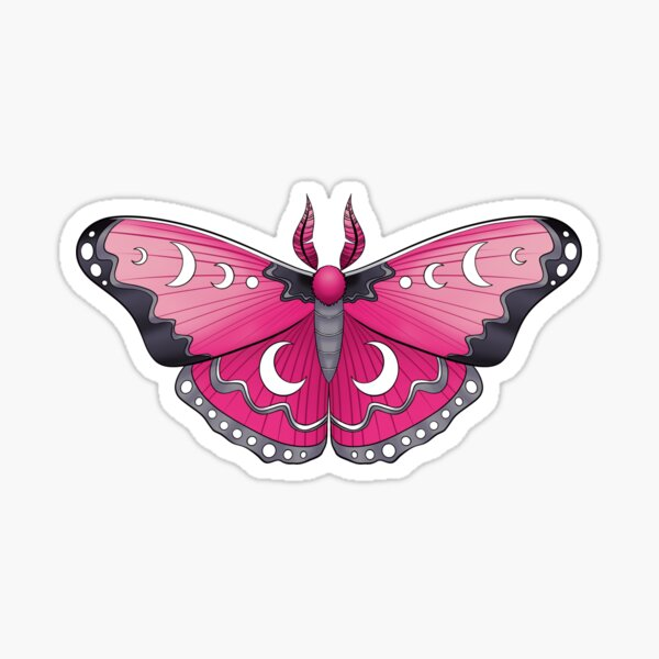 Pink and Grey Moth (with eyes and moons) Sticker