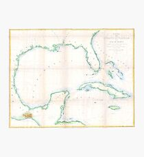Vintage Map of The Gulf of Mexico (1852) Photographic Print