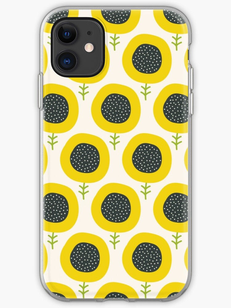 Simple Abstract Sunflower Pattern Doodle Pastel Seamless Background Cute Wallpaper Iphone Case By Illucesco