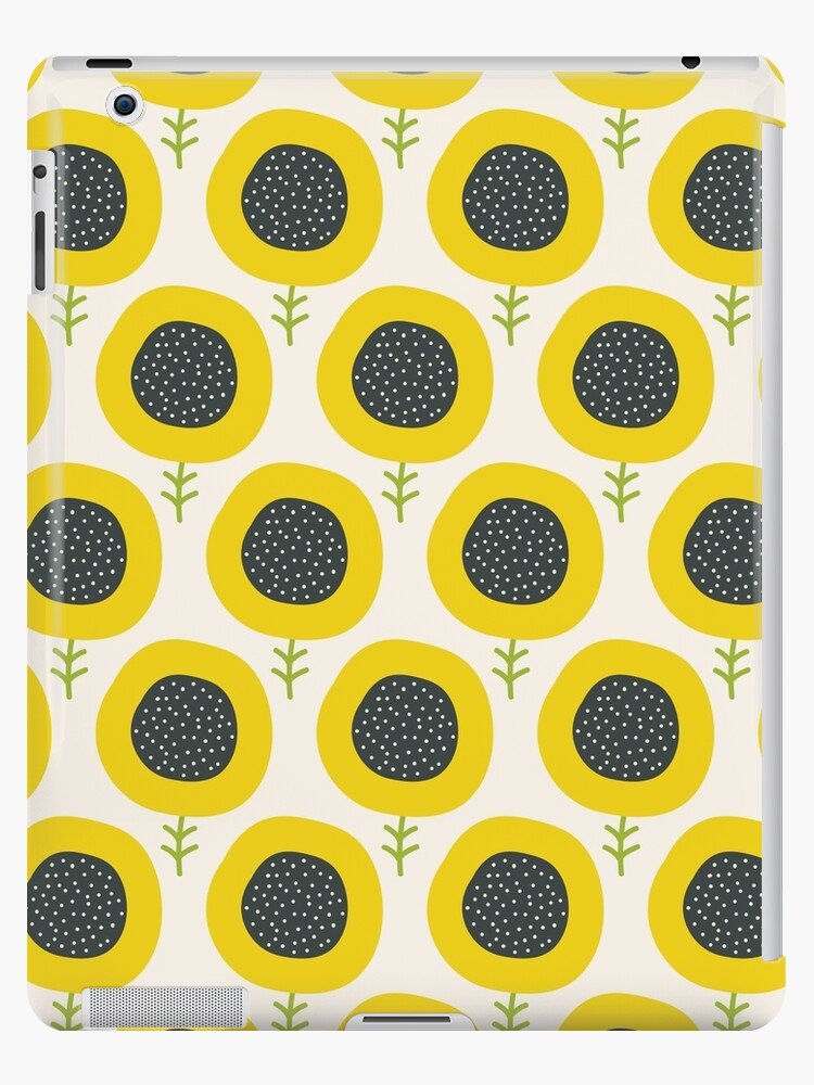 Simple Abstract Sunflower Pattern Doodle Pastel Seamless Background