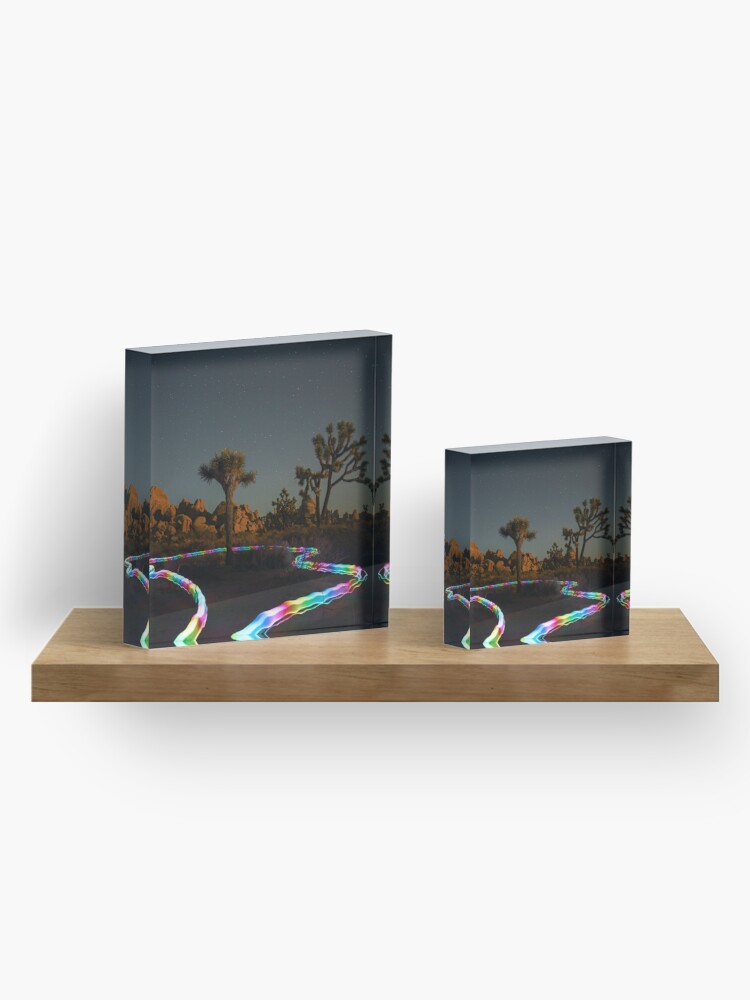 Alternate view of Trippy Joshua Tree at Night with Light Trails Acrylic Block