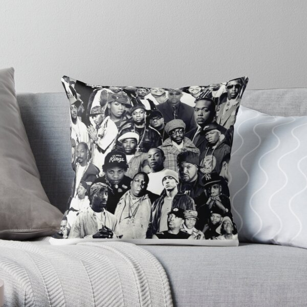 Hip Hop Legends Collage Throw Pillow