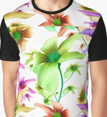 Multicolored Floral Print Pattern Graphic T-Shirt
