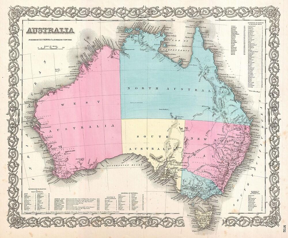 Vintage Map of Australia (1855) by BravuraMedia