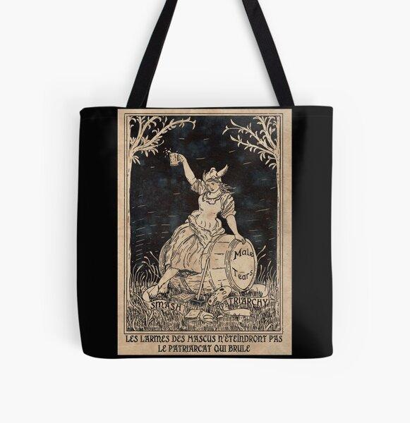 Patriarcat et Larmes de Mascus- Poster Féministe - Noir Tote bag doublé