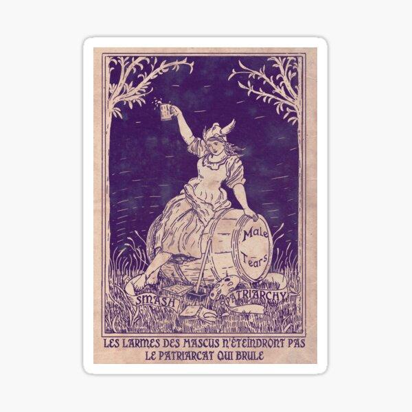 Patriarchy & Male Tears - Feminist Poster - Purple Sticker