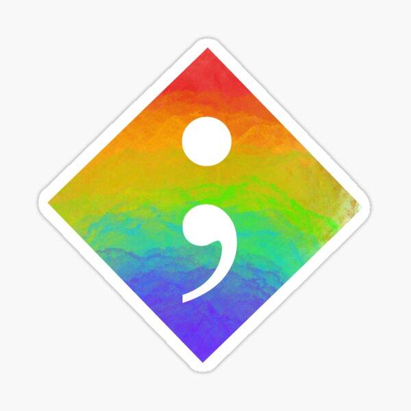 Rainbow Semicolon Sticker
