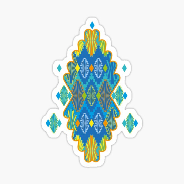 Colorful Folklore in Blue-XL Sticker