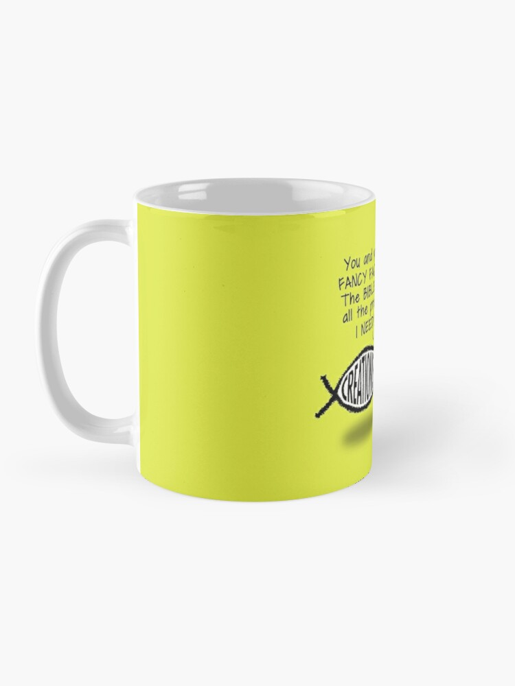 Alternate view of Creationists: not a leg to stand on! (Light background) Mug