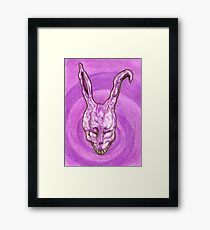 Frank The Easter Bunny (with sort of timey wimey background) Framed Print