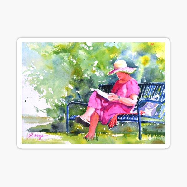 Avid reader (woman in pink) Sticker
